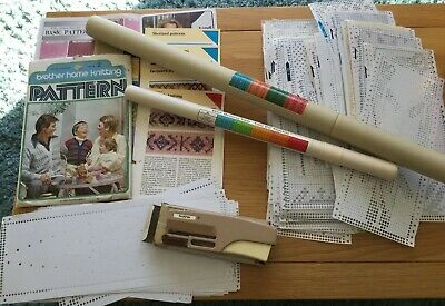 Knitting Machine Bundle, Punch, Cards 2 X Stitch Measuring Tables