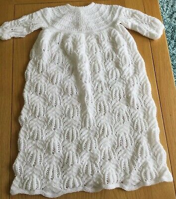 Hand Knitted Baby Christening Gown New