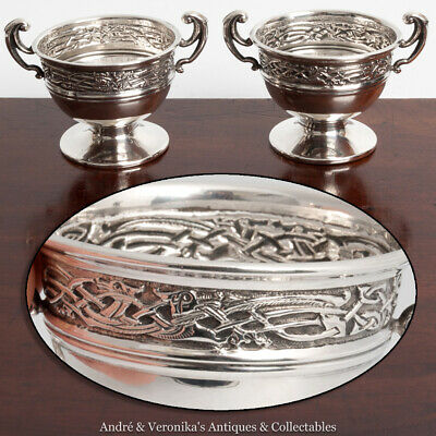 1910 Pair Silver Salts (or Sauce Pots) CELTIC Book of Kells WILLIAMS Trophy Cups