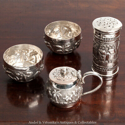 Antique Indian Silver Plate CRUET SET Salt Pepper Mustard repoussé native scenes