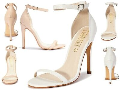 TC Branded Womens Ladies Nude White Barely There Heels High Heel Shoes Size 3-8