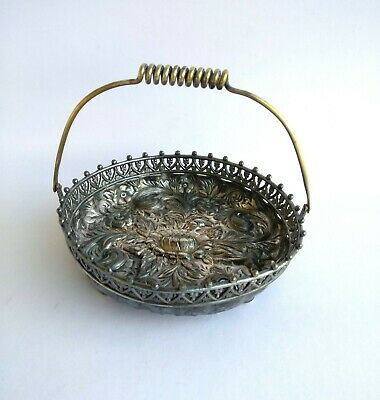 1920s Antique Derby Silver Co. Embossed Floral Pewter Basket with Brass Handle
