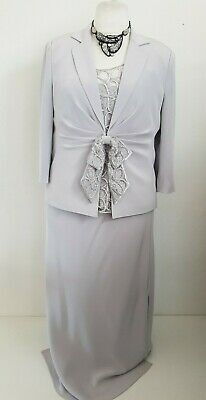 Gina Bacconi silver grey 3 piece skirt suit outfit Size 18 Mother of the bride