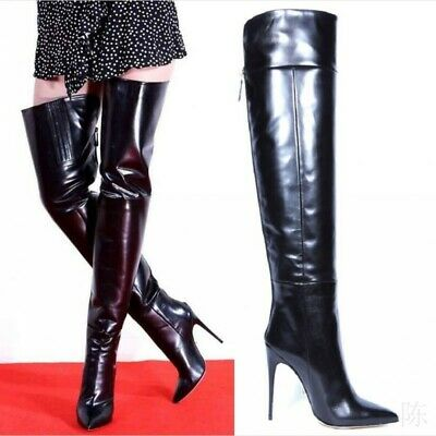 Size 35-44 Ladies Patent Crotch Over The Knee Thigh High Heel Stiletto Boots New