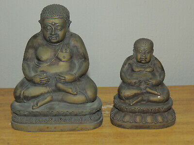 Pair Of Chinese Bronze Buddha Qing Dynasty 18Th Century
