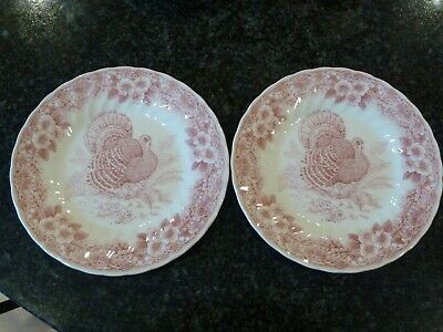 Set of 2 Churchill England Thanksgiving Turkey Myott Red Salad Luncheon Plates