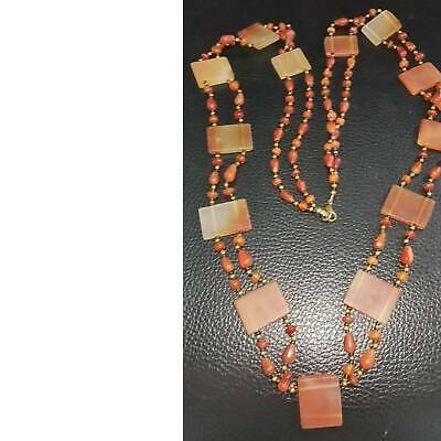 Wonderful Old Agate stone lovely Beads long  Necklace  # 37