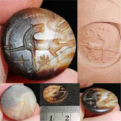 Sassanian Antique Lion With Sword Seal Old Agate stone intaglio  # 37