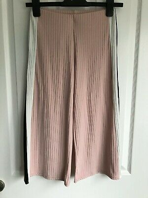 New Look pink & black cropped trousers - age 10-11