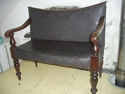 Small Antique Oak Bench Hall Seat Upholstered