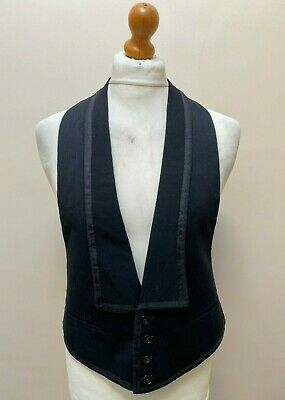 Vintage bespoke taped edge black dinner evening waistcoat size 44