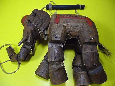 Vintage Hand Carved Wooden Elephant Marionette Puppet Hand Painted