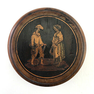 Antique Italian Sorrento Ware Marquetry Inlaid Treen Wood Patch Snuff Box C.1900