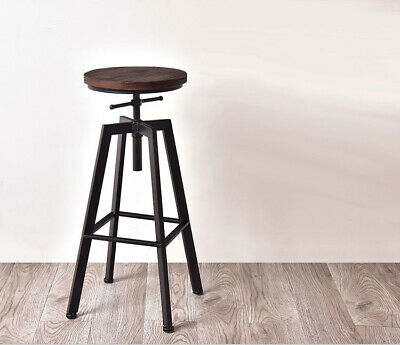 Industrial BAR STOOL vintage metal wooden retro seat kitchen pub counter chair