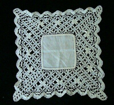 INCREDIBLE Antique HAND MADE Lace WEDDING Handkerchief  MALTESE BOBBIN Lace