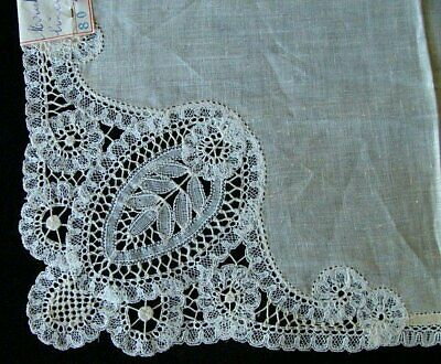 FAB Antique HAND MADE BRUSSELS Lace WEDDING Handkerchief Bobbin Lace ORIG LABEL