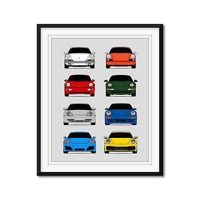 Porsche 911 Poster Print Wall Art of the History and Evolution 911 Carrera
