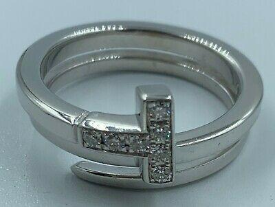 Tiffany &Co T Square Wrap 18K white gold with diamonds Ring size 6.5 RRP$3900AU