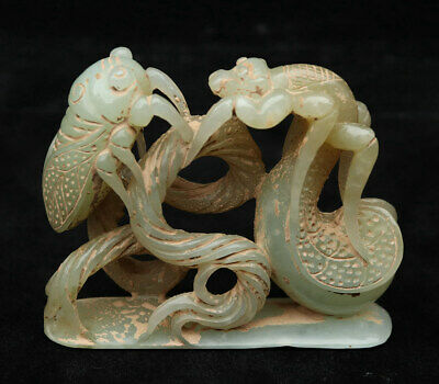 Chinese Exquisite Hand carved cicada Carving Hetian jade statue