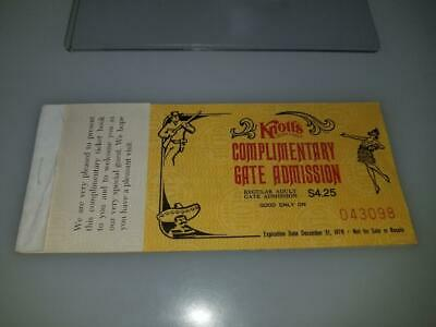 Vintage 1978 Knotts Berry Farm Comp Ticket Book With 5 Ride Tickets & Admission