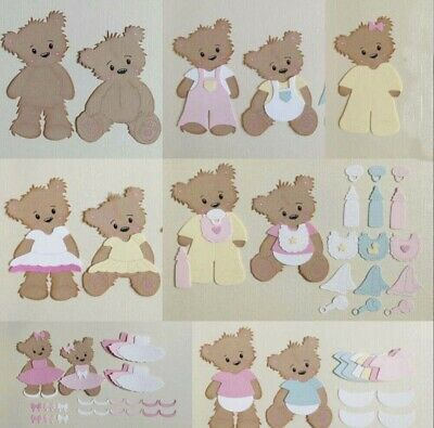 4 X Teddy Bears and Clothes (4) Paper Die Cut Scrapbooking Card Making