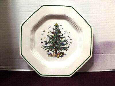"NIKKO Japan Christmastime (4) ""DINNER"" 10 7/8"" Plates Octagon  gift quality"