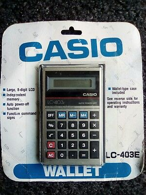 VINTAGE CASIO LC-403E ELECTRONIC CALCULATOR with WALLET CASE /MADE IN JAPAN