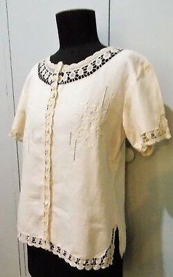 Vintage Size 40 Hua Yu Cream Embroidered Linen Blouse- 48cm Bust