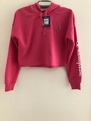 Youth 14 Authentic Champion Pink Hoodie Crop Top Girls Retail $49.95
