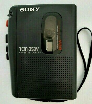 Sony TCM-353V Handheld Personal Cassette Voice Recorder Dictation.