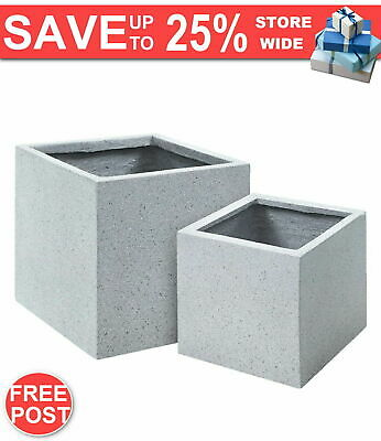 2X Plant Pots Plants Pot Stone Large Garden Indoor Outdoor Grey Square