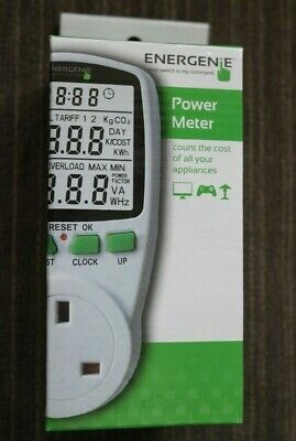 ENERGENIE APPLIANCE POWER METER W/ LARGE DISPLAY & READOUTS (CO2, KWh, COST)
