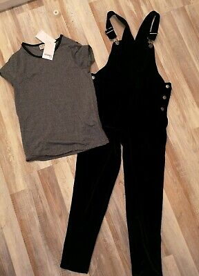 NEXT Girls Set Black Velvet Dungarees with Silver Sparkly Top 8 years BNWT
