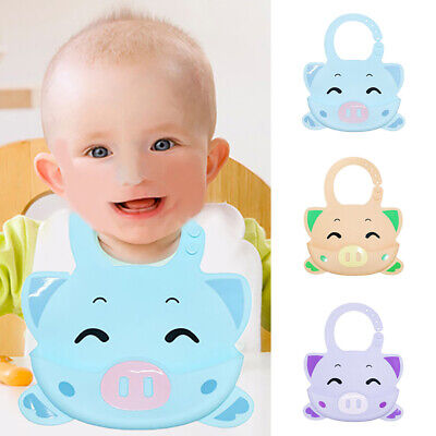 FM_ ALS_ Cartoon Pig Waterproof Baby Bibs Washable Silicone Infants Toddlers Apr