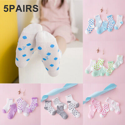 Fm_ Am_ 5 Pairs Summer Cotton Mesh Breathable Newborn Infant Baby Boy Girl Socks