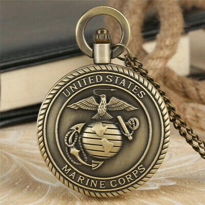 Steampunk Marines Quartz Pocket Watches Analog Dial Full Hunter Necklace Chain