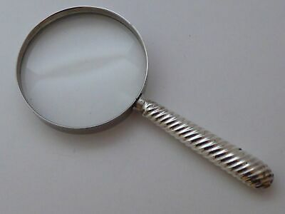 Victorian Solid Hallmarked Silver Hand Magnifying Glass London 1885