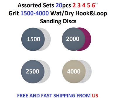 "Assorted Set 20pcs 1 2 3 4 5 6 7"" Grit 1500-4000 Wat/Dry Hook&Loop Sanding Discs"
