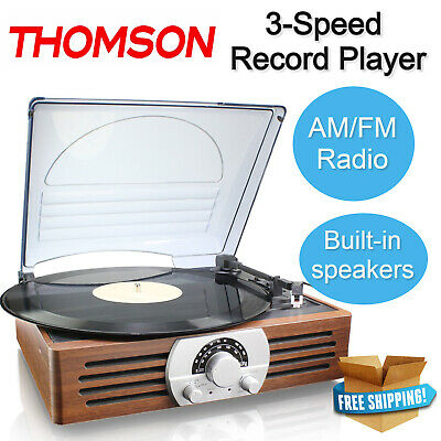 THOMSON Record Player 3-Speed Turntable AM/FM Radio Built-In Stereo Speakers NEW