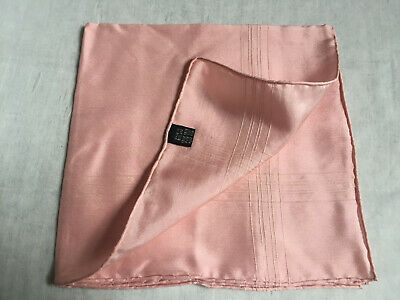 Vintage PINK 100% PURE SILK MENS HANDKERCHIEFS POCKET SQUARE Made in England