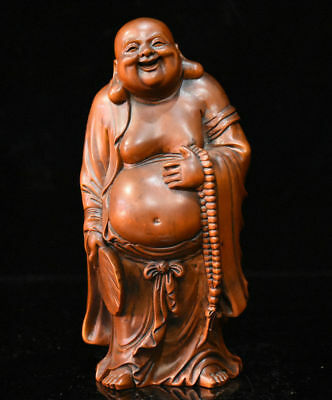 "7"" Chinese Boxwood Wood Hand-Carved Happy Laugh Maitreya Buddha Hold Fan Statue"