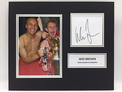 RARE Wes Brown Manchester United Signed Photo Display + COA AUTOGRAPH MAN UTD