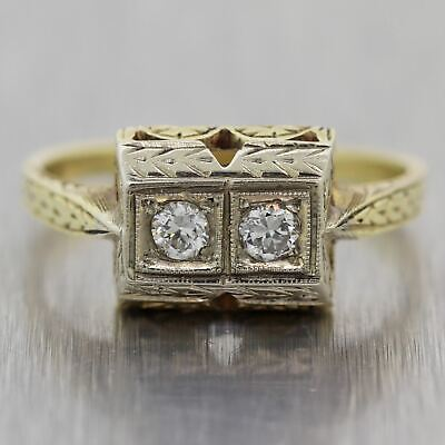 1920's Antique Art Deco 14k Yellow Gold 0.15ctw Diamond Engraved Ring