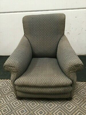 Antique howard style  library chair armchair vintage bun type feet to front