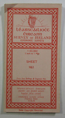 1903 Old Vintage OS Ordnance Survey of Ireland One-Inch Map Sheet 183 Co Kerry