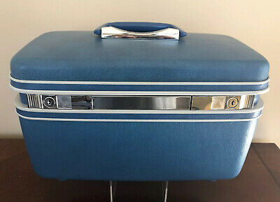 Samsonite Silhouette Dk Teal Train Case Luggage Hard Shell Tray Mirror Retro Vtg