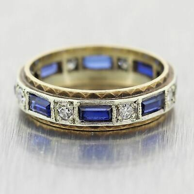 1930's Antique Art Deco. 14k Yellow Gold 1.20ctw Sapphite & Diamond Ring
