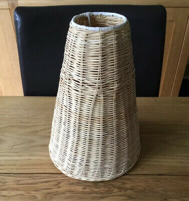RARE 1 Vintage Retro 70s Rattan Cane Wicker Weave Light Lamp Shade Boho Pendant