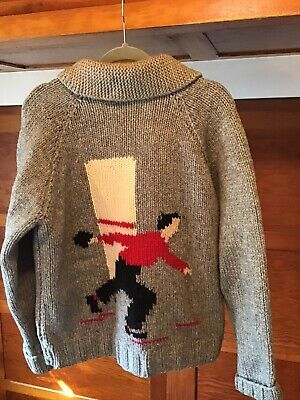 Vintage 60s era Cowichan Sweater Bowling Theme * THE DUDE* Front Zip, M/LG?