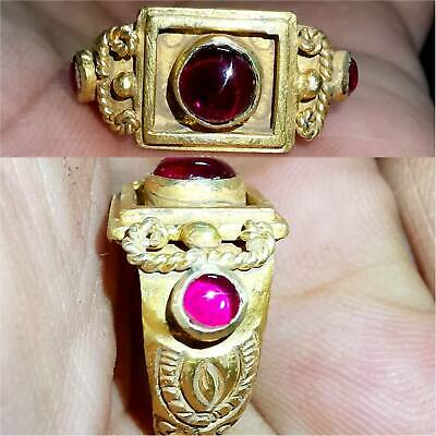 7.6 gr  Ancient Roman Hight Carat Gold  Ring  with Rare Ruby Stones # 39